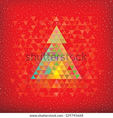 Christmas red background with abstract geometric Christmas tree. - stock photo