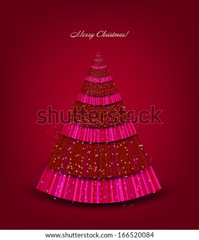 Christmas red background with tree - stock photo