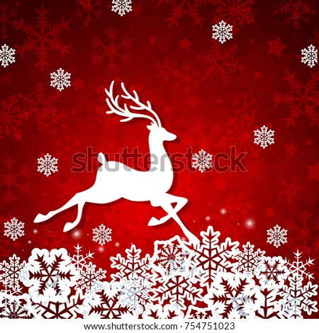Christmas red background with white cut from paper deer and snowflakes. Design for new year card.
