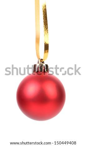 Christmas red ball - stock photo