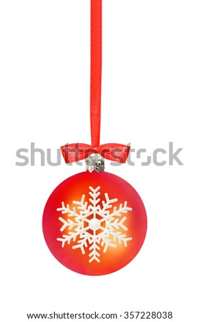 Christmas red ball isolated over white background