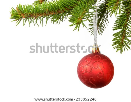 christmas red ball on the branch of christmas three, over white - stock photo
