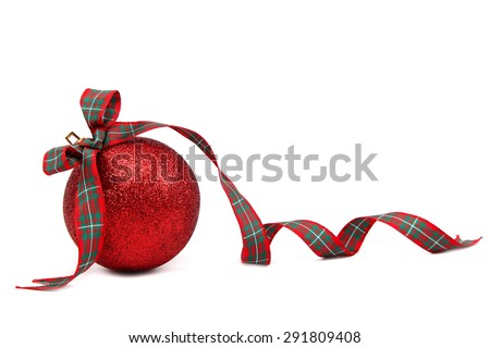 Christmas red ball with a festive ribbon isolated on white background. - stock photo