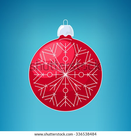 Christmas Red Ball with Snowflake , Christmas Ball  on a Blue Background , Christmas Tree Decoration, Merry Christmas and Happy New Year - stock photo