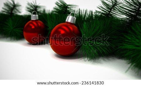 Christmas Red Balls and Fir Tree Branch on White Background  - stock photo