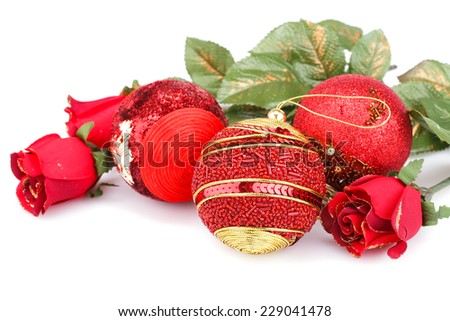 Christmas red balls and roses isolated on white background. - stock photo