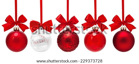 Christmas red balls isolated on white background - stock photo