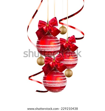 Christmas red balls isolated on white background. Holiday concept.  - stock photo