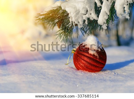 Christmas red balls on a background snow-covered fir branches