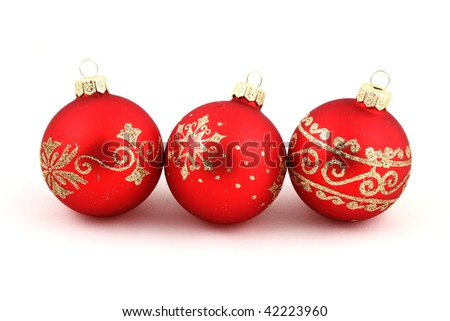 Christmas red  balls on a white background.