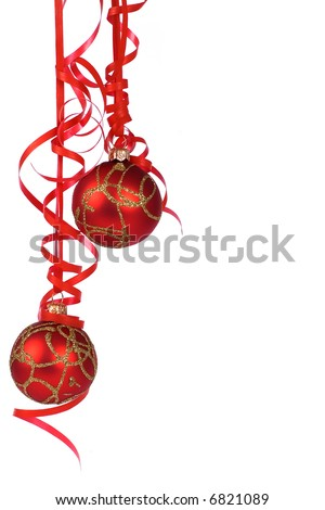 Christmas red  balls with ribbon - stock photo