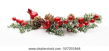 Christmas Red Berry Branch Decoration, Holiday Xmas Berries Isolated on Winter Snow