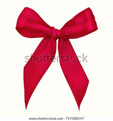 Christmas red bow on isolated white background