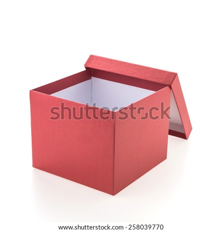 Christmas red box isolated on white background