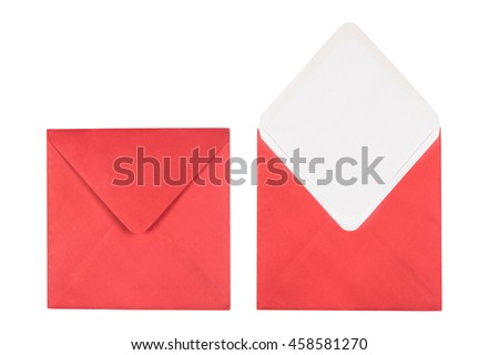 Christmas red envelope isolated on white background. Closed and opened envelopes