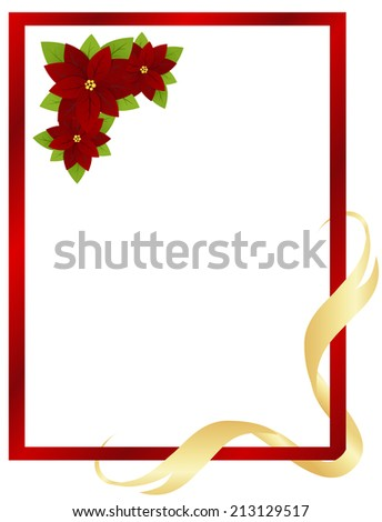Christmas red frame with poinsettia and ribbon.