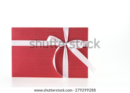 Christmas Red gift box isolated on white background - stock photo
