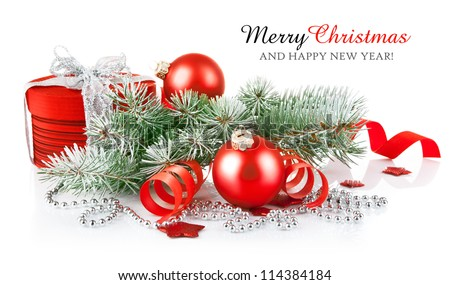 christmas red gift with branch firtree - stock photo