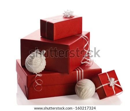 christmas, red glamour present's box with bright bow and balls on white background - stock photo