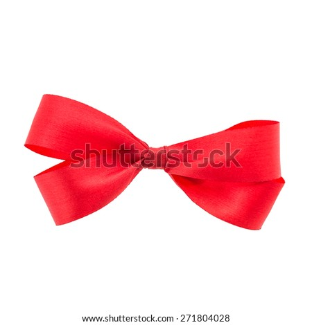 Christmas Red ribbon isolated on white background - stock photo