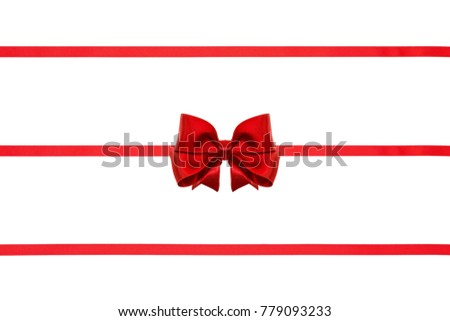Christmas red satin ribbon bows with tails isolated on white background