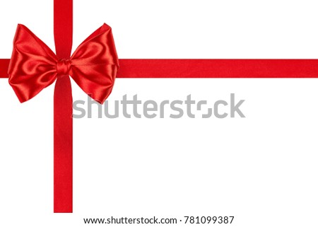 Christmas red silk ribbon bow with crosswise ribbons isolated on white background