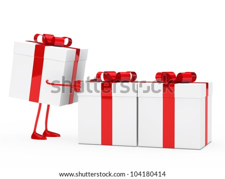 christmas red white figure push gift boxes