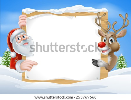 Christmas Reindeer and Santa Sign with cute cartoon Reindeer and Santa pointing at a snow covered sign on a winter landscape - stock photo