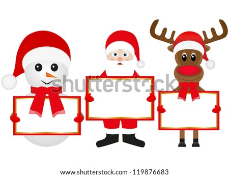 Christmas reindeer snowman and Santa Claus are holding banners
