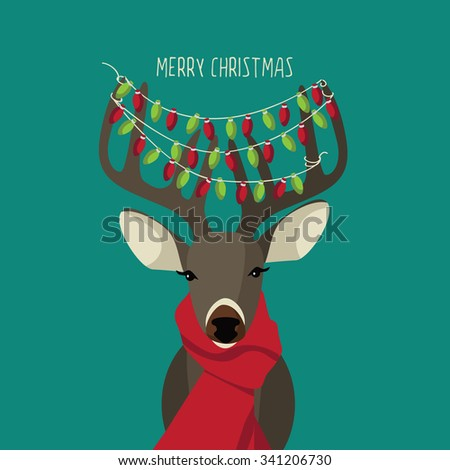 Christmas Reindeer wearing red scarf and festive lights. Royalty free illustration. - stock photo