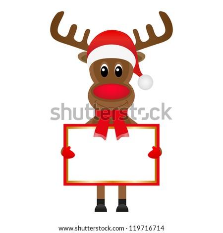Christmas  reindeer with blank banners - stock photo