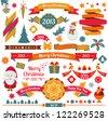 Christmas retro elements. Ribbons, snowflakes, text, Santa Claus. Raster version - stock photo