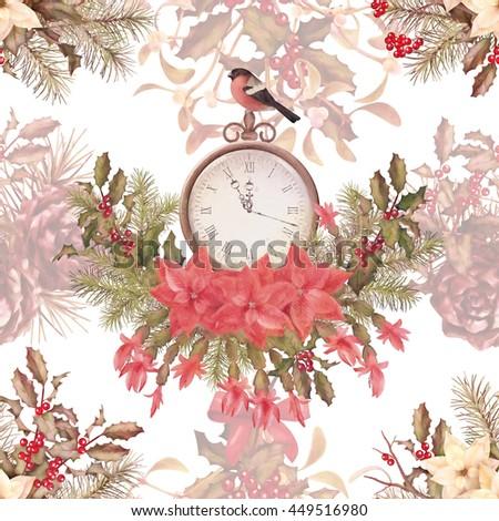 Christmas retro seamless pattern. Bird bullfinch, poinsettia flowers with Rowan and Holly branch - stock photo