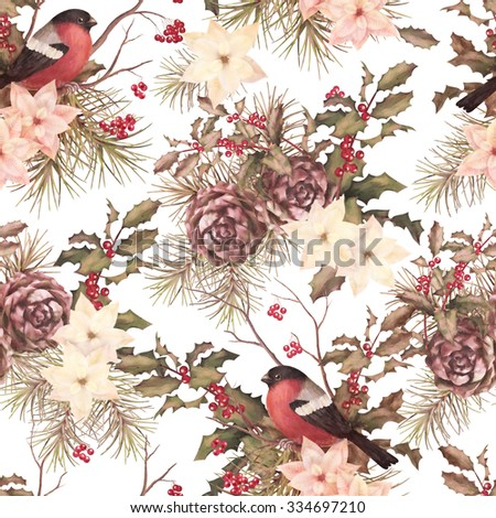 Christmas retro seamless pattern. Bird bullfinch, poinsettia flowers with Rowan and Holly branch on a white background - stock photo