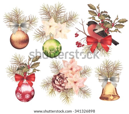 Christmas retro watercolor decorative composition set with bird bullfinch, poinsettia flowers, decorations, fir tree and Holly branch on a white background - stock photo