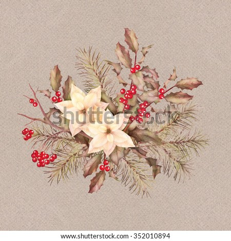 Christmas retro watercolor decorative composition with poinsettia flowers, Rowan, fir-tree and Holly branch - stock photo