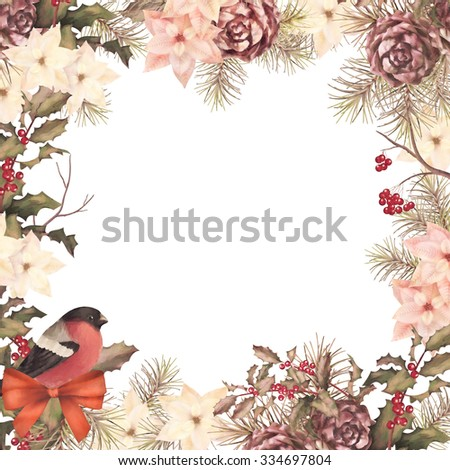Christmas retro watercolor decorative frame composition. Bird bullfinch, poinsettia flowers with Rowan and Holly branch on a white background - stock photo