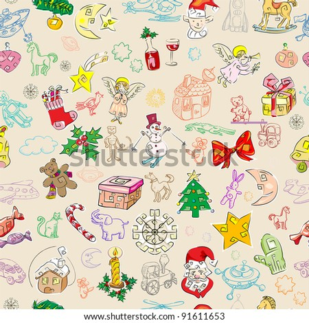 christmas rich pattern with toys and season greetings icons, childlike drawn wallpaper