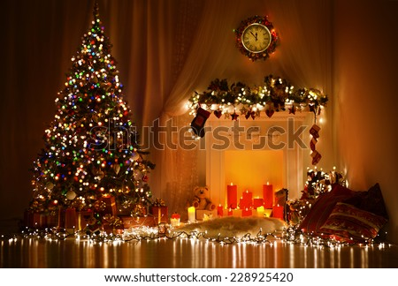 Christmas Room Interior Design, Xmas Tree Decorated By Lights Presents Gifts Toys, Candles And Garland Lighting Indoors Fireplace - stock photo