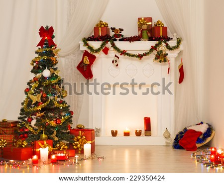 Christmas Room Interior Design, Xmas Tree Decorated By Lights Presents Gifts Toys, Fireplace and Candles Lighting Indoors - stock photo