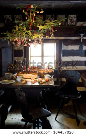 Christmas room, scanzen Vesely Kopec, Czech Republic - stock photo