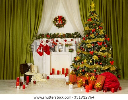 Christmas Room Xmas Tree, Decorated Home Interior, Hanging Sock on Fireplace, Presents Gifts, Santa Bag - stock photo