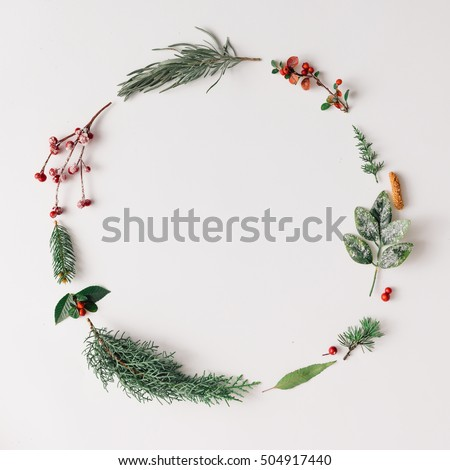 Christmas round frame made of natural winter things. Flat lay.