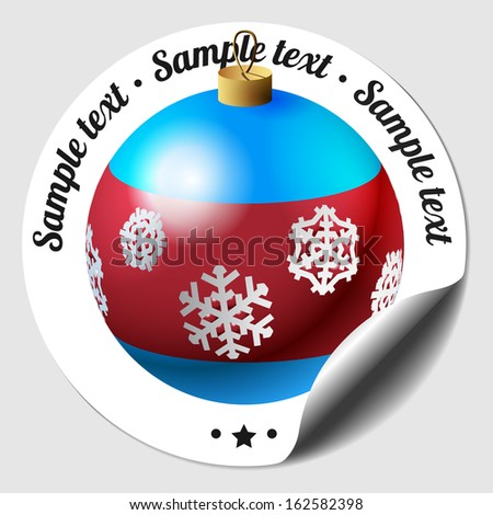Christmas round sticker with blue and red bauble - stock photo
