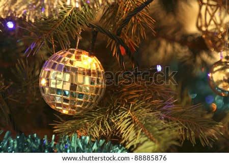 Christmas round the Christmas tree close-up mirror - stock photo