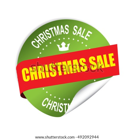 Christmas sale green sticker, button, label and sign.