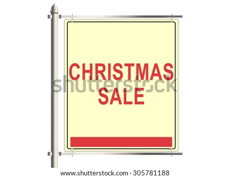 Christmas sale. Road sign on the white background. Raster illustration.
