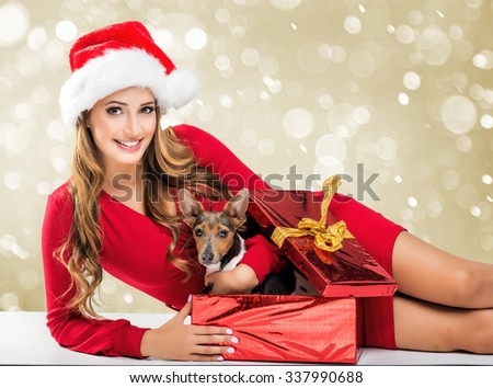 Christmas SALE - woman holding a red sale bags - stock photo