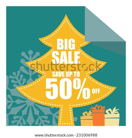 Christmas Sale, X'Mas Sale, Blue Big Sale Save Up To 50% Off on Christmas Tree Tag, Sticker or Label Isolated on White Background - stock photo