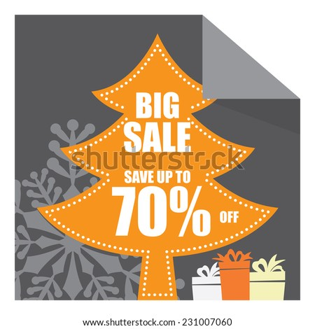 Christmas Sale, X'Mas Sale, Gray Big Sale Save Up To 70% Off on Christmas Tree Tag, Sticker or Label Isolated on White Background - stock photo